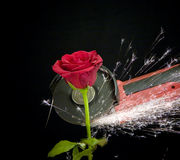 Steel rose. Rose been cut with power tool stock photography