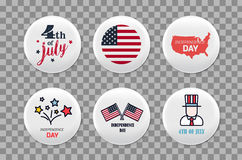 Steel round badges set. Patriotic brooch. 4th of july. Independence Day of America. Realistic mockup. Steel round badges set. Patriotic brooch. 4th of july Stock Photo