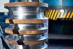 Steel round billets for the manufacture of valves. For the gas and petroleum industry at a machine-building plant royalty free stock photos