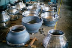 Steel round billets for the manufacture of valves. For the gas and petroleum industry at a machine-building plant stock image