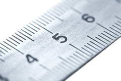 Steel ruler. Isolated on white royalty free stock photo