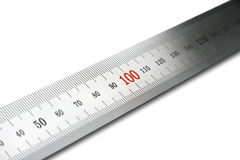 Steel ruler. Diagonal view. Isolated. royalty free stock photos