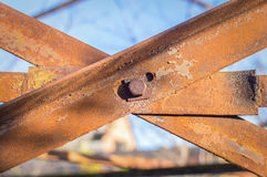 Steel rusty link on a metal structure Stock Images