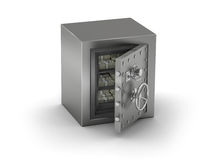 Steel safe. Bank safe on white background stock image