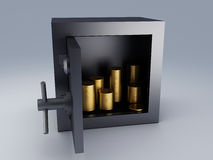 Steel safe box and gold. 3D illustration. Protection concept Stock Images
