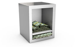 Steel safe box and money 3D. Protection of finance concept. Isol Stock Photography