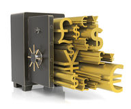 Steel Safe. With Gold Currency Sign.  on white. High resolution 3D rendering Royalty Free Stock Photography