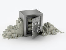 Steel safe and money around. Bank safe on white background and many dollars paks pilled around stock photography