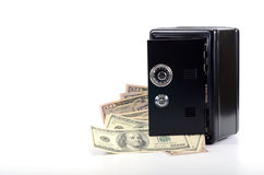 Steel safe with money , money saving concept Royalty Free Stock Photography