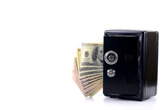 Steel safe with money , money saving concept Stock Photo