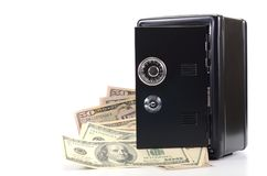 Steel safe with money , money saving concept Royalty Free Stock Image