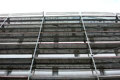 Steel scaffolding used for façade renovation works. stock image