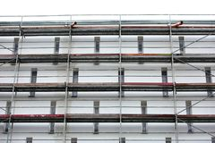 Steel scaffolding used for façade renovation works. royalty free stock photos