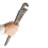 Steel screw wrench in male hand isolated on white Stock Images