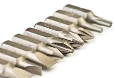 Steel screwdriver tips Stock Images