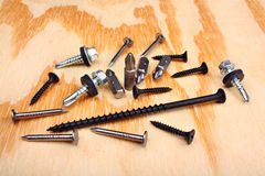 Steel screwdriver tips and screw Stock Photo