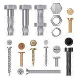 Steel screws bolts. Vise rivets metal construction hardware tools vector realistic pictures stock illustration