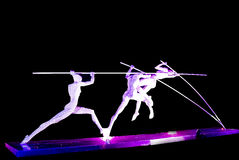 Steel sculpture. Sculpture made by steel lighting by purple light locate at Xinghaiwan Square, Dalian, China Stock Photography