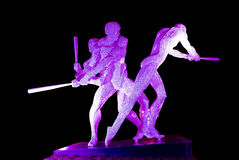 Steel sculpture. Sculpture made by steel lighting by purple light locate at Xinghaiwan Square, Dalian, China Royalty Free Stock Photos