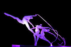 Steel sculpture. Sculpture made by steel lighting by purple light locate at Xinghaiwan Square, Dalian, China Stock Photo