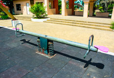 Steel seesaw Stock Photos
