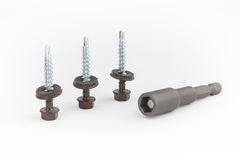 Steel Self-Drilling Screw, Brown Finish, Sealing Hex Washer Head Royalty Free Stock Photo