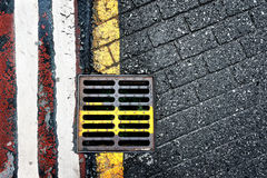 Steel sewer on floor Royalty Free Stock Images