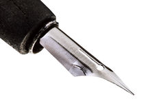 Steel sharp nib of drawing pen close up Stock Photography