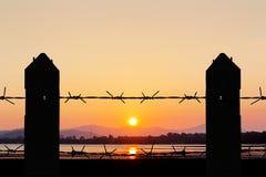 Steel sharpe fence twilight time Stock Image