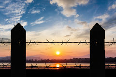 Steel sharpe fence twilight time Royalty Free Stock Photo