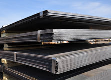 Steel sheets in packs. The corner of the steel sheet packs Stock Photography
