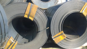Steel sheets rolled up into rolls. Export Steel. Packing of stee Royalty Free Stock Photography