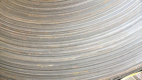 Steel sheets rolled up into rolls. Export Steel. Packing of stee Royalty Free Stock Photos