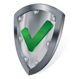 Steel shield with check mark Stock Photo
