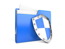 Steel shield, computer folder and file. On a white background Stock Image