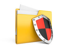 Steel shield, computer folder and file. On a white backgrou Stock Photos