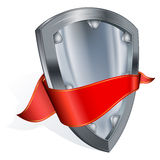 Steel shield with red ribbon Royalty Free Stock Photography