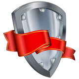 Steel shield with red ribbon Stock Images