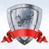 Steel shield with ribbon Stock Photo