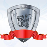 Steel shield with ribbon Royalty Free Stock Images