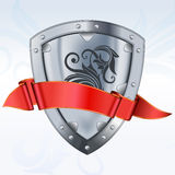 Steel shield with ribbon Stock Image