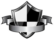 Steel shield with ribbon Royalty Free Stock Photos