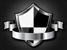 Steel shield with ribbon. Over black dotted background. Vector EPS10. Transparency is used to create shadows Stock Images