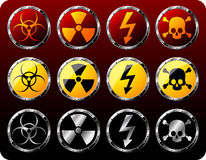 Steel shields with warning symbols Stock Image