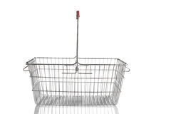 Steel shoping basket isolated on white Stock Photography