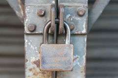Steel shutter door with master key locked Royalty Free Stock Photos