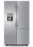 Steel side-by-side refrigerator Royalty Free Stock Photo
