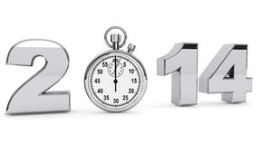 2014 steel sign with stopwatch Stock Photos