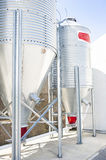 Steel silos for flour. Royalty Free Stock Images