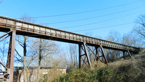 Steel Span. Steel structural support span of vintage railway system royalty free stock images